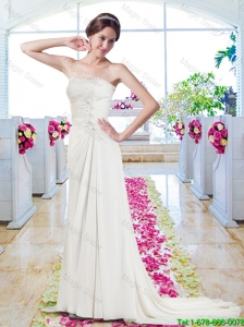 Elegant Strapless Appliques Wedding Dresses with Court Train