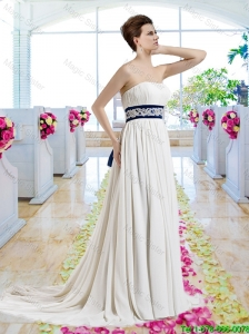 Exclusive Empire Strapless Bridal Dresses with Sashes