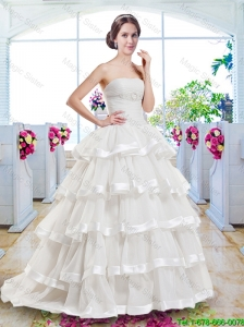 Fashionable Ruffled Layers Bridal Dresses with Brush Train