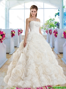 Gorgeous A Line Strapless Brush Train Bridal Dresses with Lace