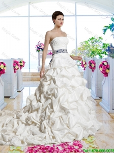 Gorgeous Sashes 2015 Bridal Gowns with Chapel Train