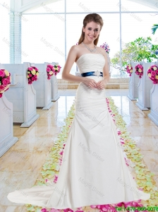 Inexpensive Strapless Belt and Ruched Wedding Dresses with Column