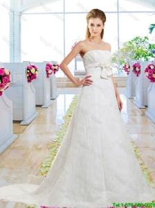 Informal A Line Laced Wedding Dresses with Lace Up