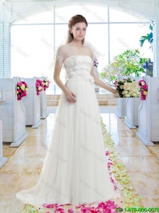 Latest Empire Appliques Bridal Gowns with Brush Train
