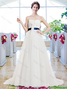 Modest Brush Train Wedding Dresses with Belt and Appliques