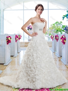 New Arrivals A Line Beaded Wedding Dresses with Appliques