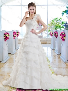 New Style Ruffled Layers Bridal Dresses with One Shoulder