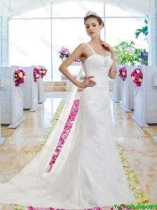Perfect Straps Lace Up Wedding Dresses with Appliques