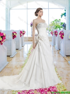 Pretty Strapless Beaded Bridal Gowns with Hand Made Flowers