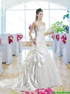 Romantic Mermaid One Shoulder Bridal Gowns with Court Train