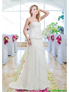 Simple Empire Wedding Gowns with Appliques