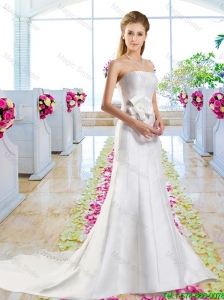 Simple Hand Made Flowers Wedding Dresses with Column