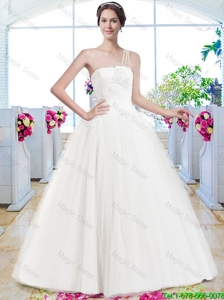 Wonderful A Line One Shoulder Wedding Dresses with Appliques