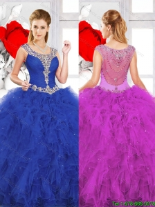 2016 Spring Beautiful Scoop Ruffles Quinceanera Dresses with Beading