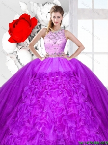 Elegant Scoop Quinceanera Dresses with Beading and Ruffles