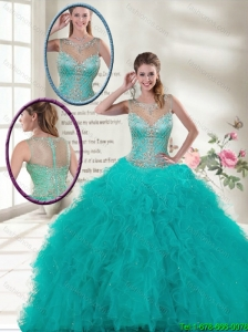 Elegant Scoop Quinceanera Dresses with Ruffles and Beading