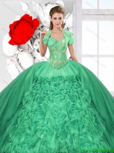 Fashionable Ruffles and Beaded Quinceanera Dresses in Green