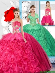 Hot Pink Affordable Detachable Quinceanera Dresses with Beading