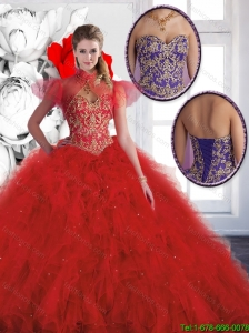 Luxurious Red Sweetheart Quinceanera Gowns with Beading