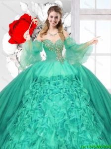 Popular Beaded Turquoise Quinceanera Gowns with Ruffles