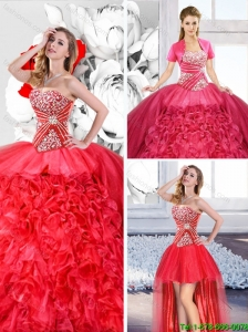 Red 2016 Spring Fashionable Detachable Quinceanera Dresses with Ruffles