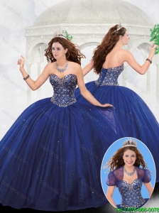 2016 Spring Luxurious Sweetheart Beaded Quinceanera Dresses in Royal Blue
