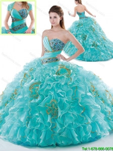 Beautiful Brush Train Quinceanera Gowns with Ruffles and Beading