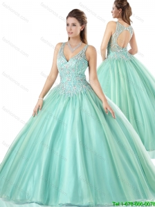 Beautiful V Neck Mint Sweet 16 Gowns with Open Back