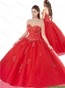 Best Selling Appliques Red Quinceanera Gowns with Beading