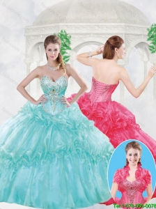 Elegant Ball Gown Sweet 16 Dresses with Beading and Ruffles