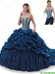 Elegant Beading and Pick Ups Quinceanera Dresses in Navy Blue