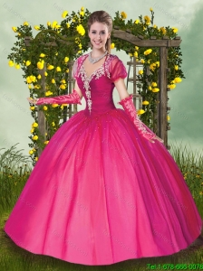 Exquisite V Neck Beading Quinceanera Gowns in Hot Pink