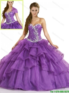 Fall Elegant Purple Sweet 16 Dresses with Beading and Ruffles