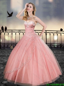 Fashionable Sweetheart Beading Quinceanera Gowns in Watermelon