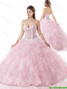 Hot Sale Ball Gown 2016 Ruffles Quinceanera Gowns with Beading