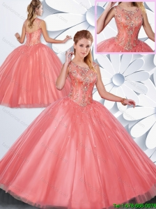 Hot Sale Beading Scoop Quinceanera Gowns in Watermelon