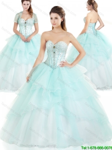 Latest Ruffles and Beading Sweet 16 Dresses in Apple Green