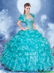 Luxurious Sweetheart Aqua Blue Quinceanera Dresses with Beading and Ruffles