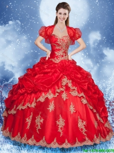 New Arrivals Appliques Red Quinceanera Gowns with Sweetheart