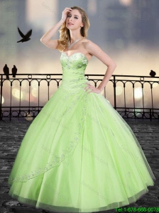 Perfect Spring Ball Gown Beading Sweet 16 Dresses in Yellow Green