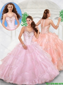 Popular Scoop Beading Quinceanera Dresses with Zipper Up