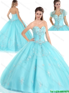 Popular Sweetheart 2016 Spring Quinceanera Dresses with Appliques
