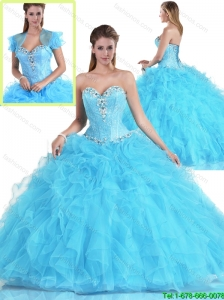 Pretty Beading and Ruffles Sweet 16 Dresses with Sweetheart