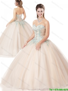 Spring New Style Ball Gown Appliques and Beading Quinceanera Dresses