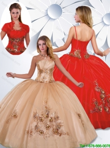 2016 Best Selling Appliques Quinceanera Gowns with Strapless