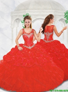 Beautiful Ball Gown Beading Red Quinceanera Gowns with Scoop
