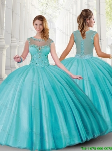 Cheap Bateau Aqua Blue Quinceanera Dresses with Beading