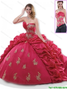 Discount Appliques 2016 Quinceanera Dresses with Brush Train