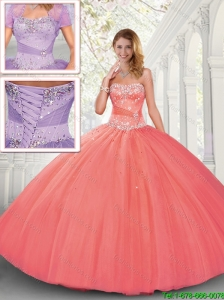 Discount Puffy Strapless Tulle Quinceanera Dresses for 2016