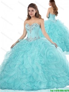 Exclusive Ruffles and Beading Quinceanera Dresses in Aqua Blue
